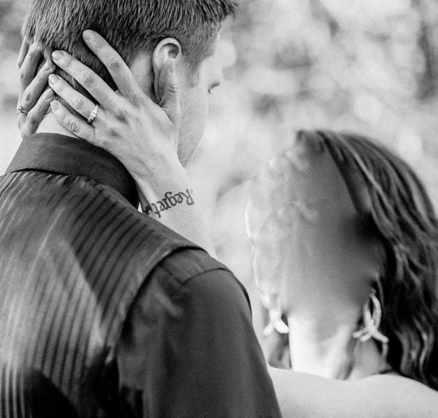 The framing of this tattoo for a wedding photo: