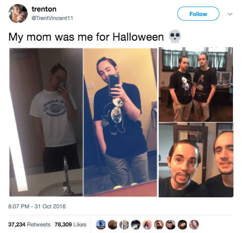 And this mom, who actually dressed up as her son for Halloween: