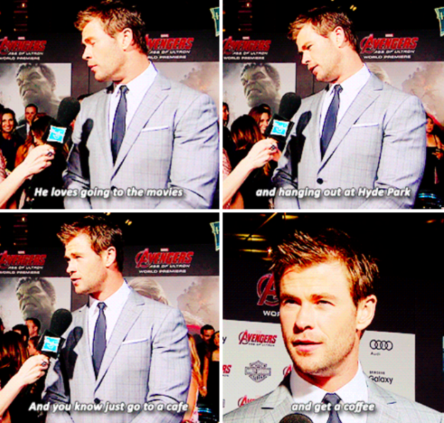 When he imagined what Thor's favourite things to do on Earth would be: