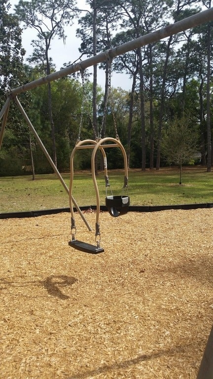 ...And this baby swing has an added seat so that parents and kiddos can swing together!