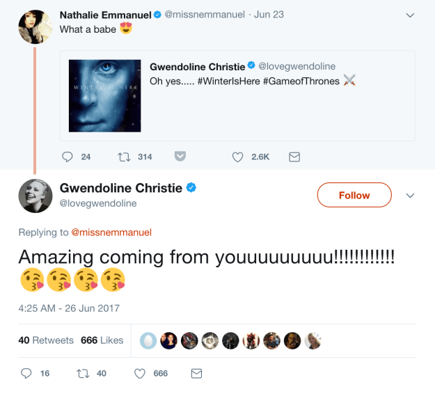 When Nathalie and Gwendoline had a mutual love-fest on Twitter.