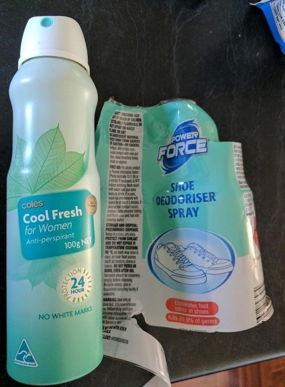 Uh, according to some Aldi customers, the shoe deodorizer they bought was just anti-perspirant with a new label.