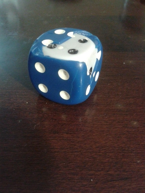 And this blue dice appears to have been filled with an old dice, too.