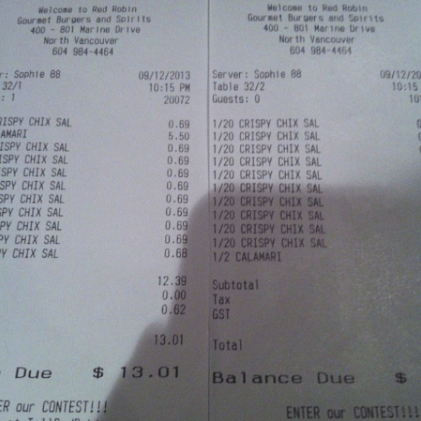 This served accidentally divided the bill into 20, instead of two.