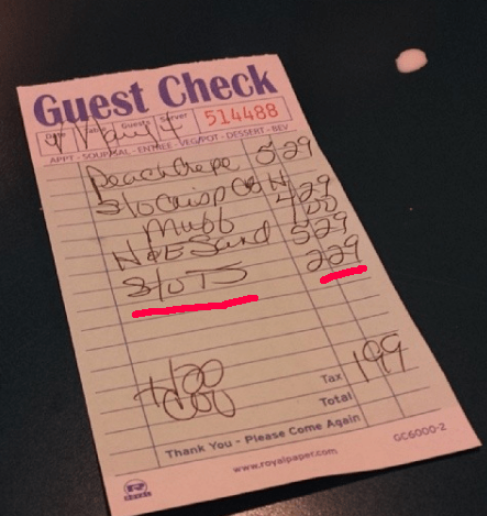 """This server charged customers $2.29 for """"sluts"""" (???):"""