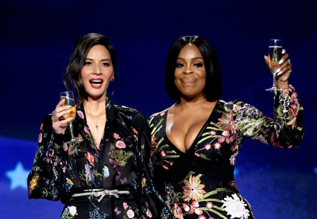 "At tonight's 23rd Annual Critics' Choice Awards, the show's host Olivia Munn took the stage with Niecy Nash for a skit titled ""Toast to the Good Guys."" After doing a bit of thanking, the duo called out their male colleagues for not speaking up at the Golden Globes in support of the Times Up movement on Sunday."