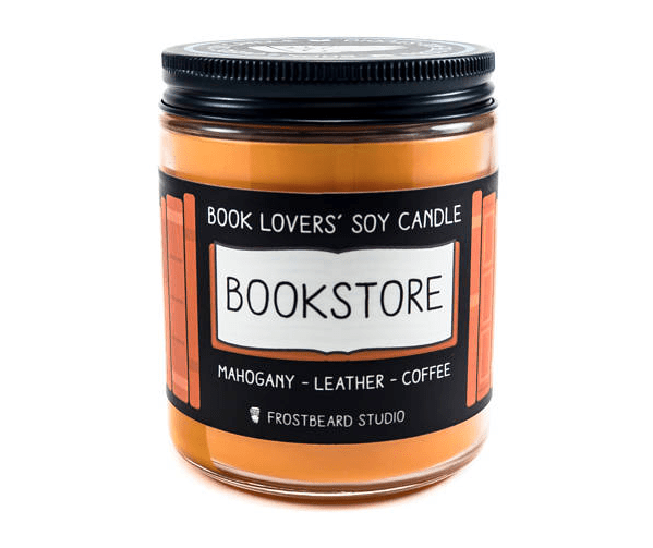 This candle that will let you imagine you're in a cute little rustic bookstore, when actually you're home in bed reading.