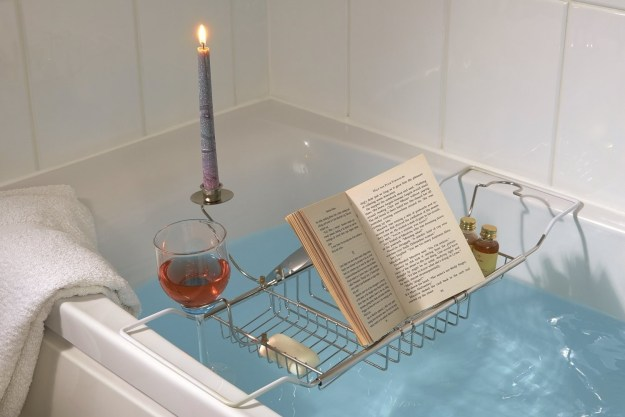 This bathtub book and wine holder that will help you finally finish that book while you soak.