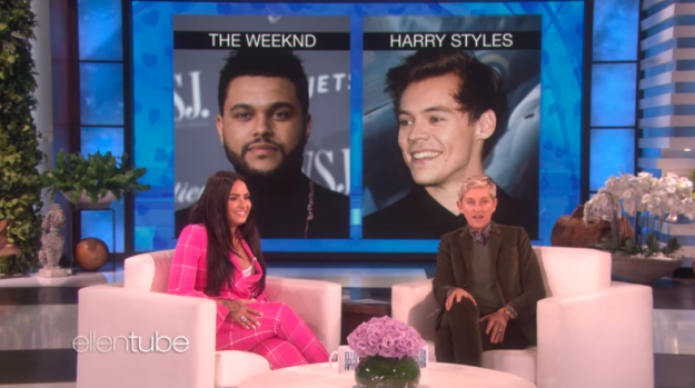 The first question seemed fairly easy for Demi, who basically picked Harry Styles without hesitation.
