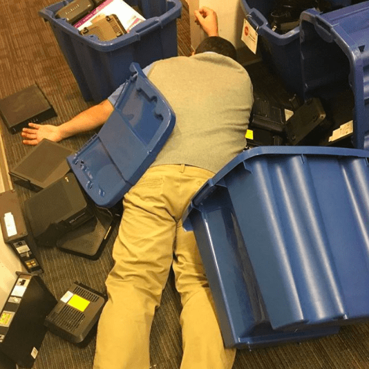 This worker, who took a pretty destructive nap at work: