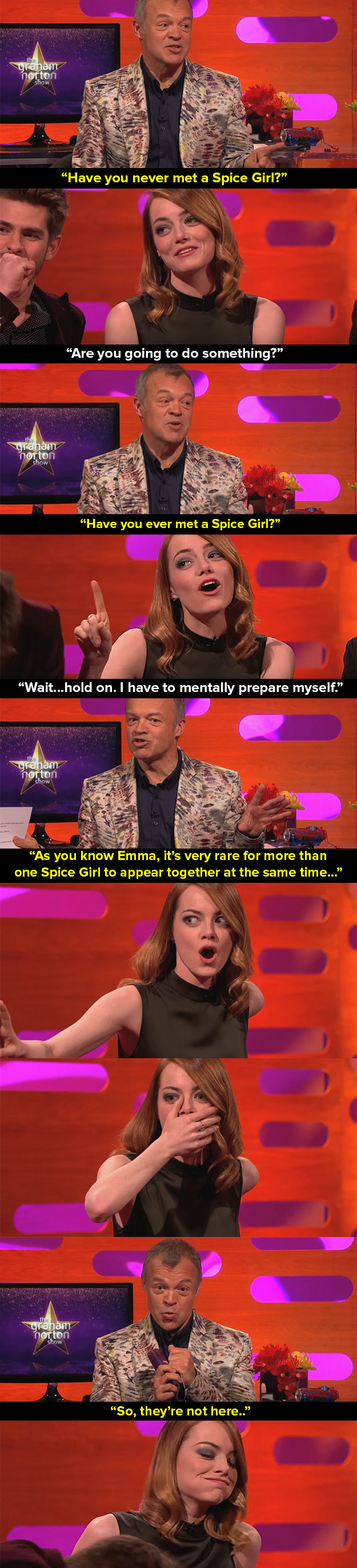 When Graham Norton convinced Emma Stone that she was about to meet the Spice Girls.