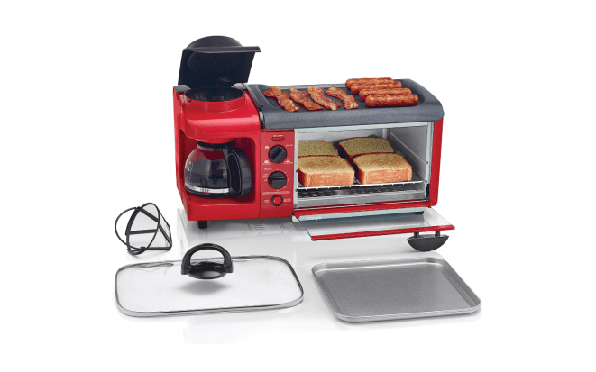 """There's a toaster oven, a four-cup coffee pot, and a griddle. It's the perfect size for our tiny city apartment and for just the two of us."" —Samantha W.Get it from Jet for $69.99."
