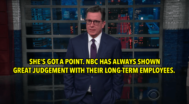 And Stephen Colbert came back with this jab at NBC...
