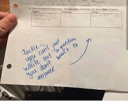 When this student thought she was pretty slick.