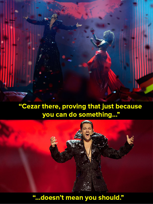When Cezar performed at Eurovision 2013.