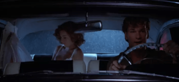 In Dirty Dancing, Johnny is supposed to be driving, but if you look closely at the gear shift you can see that the car is actually in park.