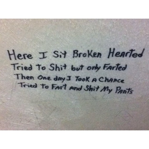 Beautiful poetry all over the bathroom walls: