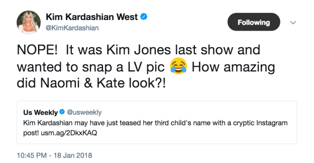 However, Kim has now shut this speculation down, explaining that the post was actually simply in tribute to the men's artistic director who is leaving the brand.