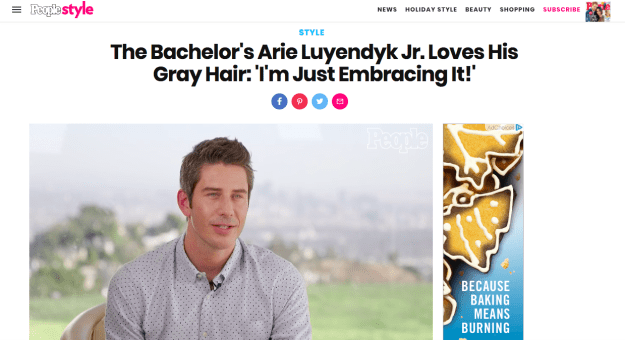 "Clearly, Arie has gray hair. And according to People, he is ""just embracing it!"""
