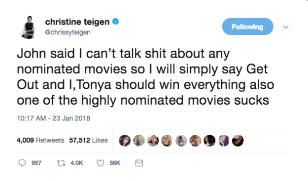 And that's why Chrissy Teigen took to Twitter on Tuesday to let her followers know what films she'll be rooting for this year.