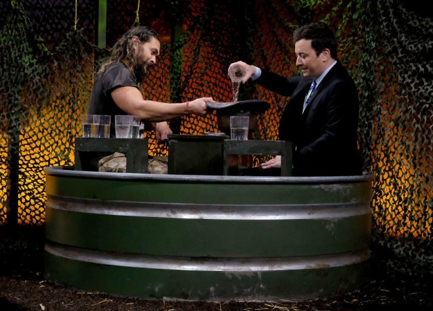 Because Jason and Jimmy decided to play a game that involved some water which, in fairness, doesn't sound that exciting... until you realise that this means a very wet Jason Momoa is about to make an appearance.