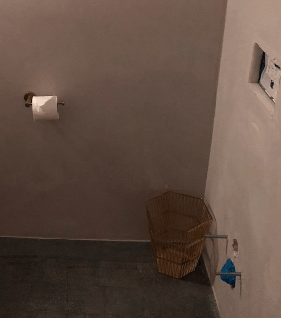 As you can see, this is the spot where the toilet should be. It doesn't take a detective to note that the toilet isn't actually there anymore.