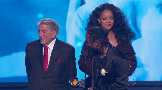 The only thing is — he wouldn't get out of Rihanna's way so that she could get to the mic.
