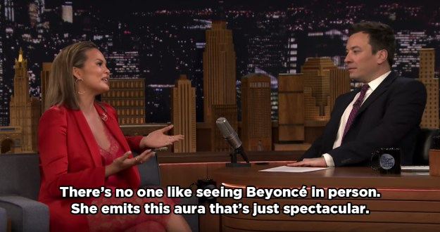 But, during an appearance on the Tonight Show on Tuesday, Chrissy revealed that she's still not used to seeing Beyoncé in the flesh.