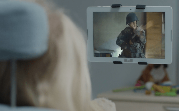 """In """"Arkangel"""", Sara watches a violent scene on her tablet that probably looked familiar."""