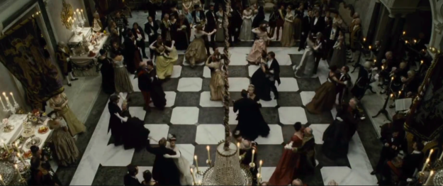 In Sherlock Holmes: A Game of Shadows, the dance floor is made to look like a chessboard.