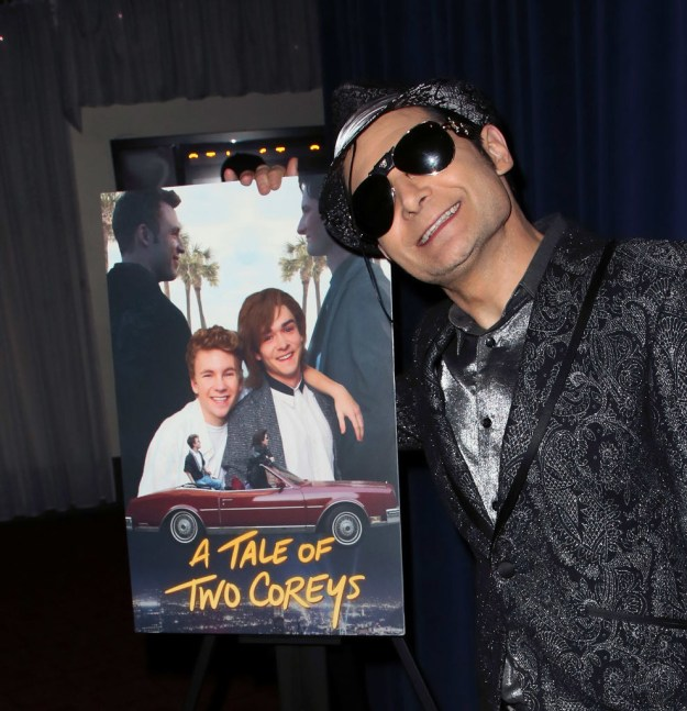 Corey Feldman smiled at the premiere of the Lifetime movie about himself, A Tale of Two Coreys.