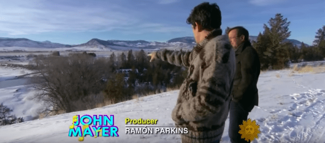 John Mayer points out landscape features around his Montana ranch.