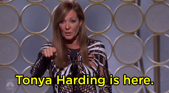 """Allison Janney said, """"Tonya Harding is here,"""" and no one knew whether to clap or not."""