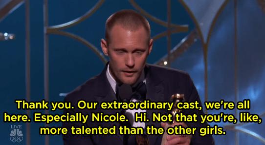 Alexander Skarsgård gave an awkward speech about Nicole Kidman.