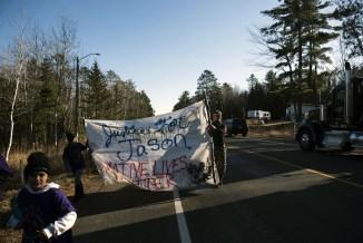 The community unity walk organized by Jason Pero's eighth-grade classmates.