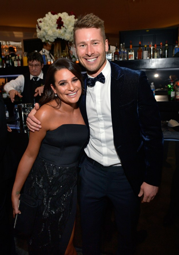 Lea Michele caught up with old pal Glen Powell.