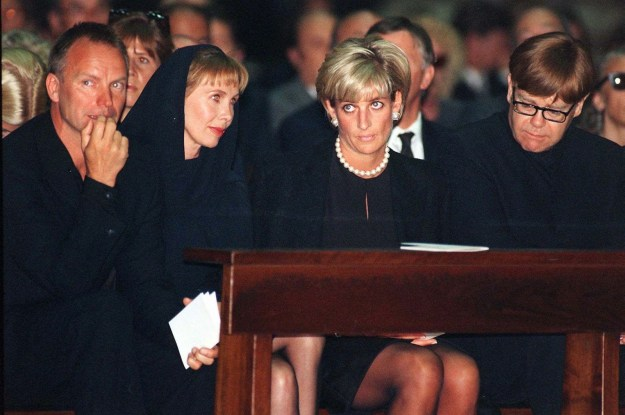 Celebrity attendees Sting, his wife Trudy Styler, Princess Diana, and Sir Elton John all attended the mass.