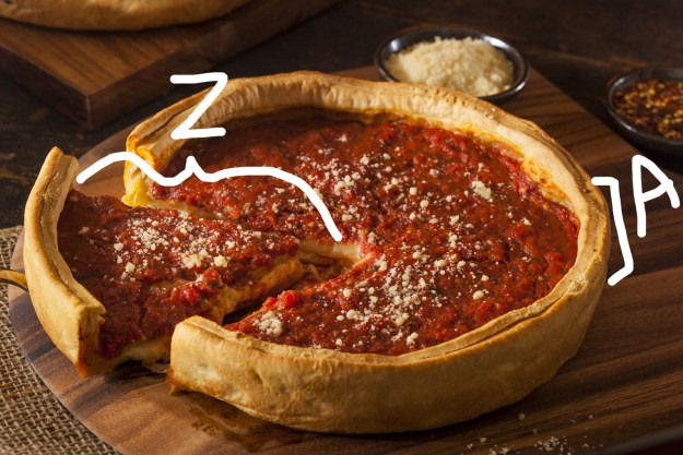 And finally, to calculate the volume of this deep-dish pizza, you would simply use the formula: Pi x Z x Z x A.