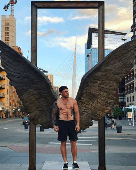 And how does one lose their shirt in the middle of the city conveniently next to some angel wings. (Just asking, not mad or anything.)