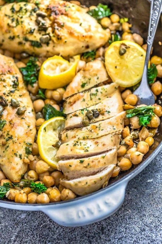 Chicken Piccata with Chickpeas