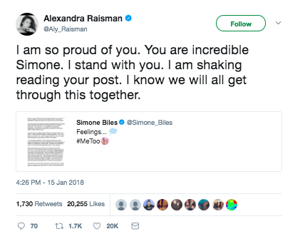 When Aly Raisman stood with Simone Biles when she shared her own #MeToo story: