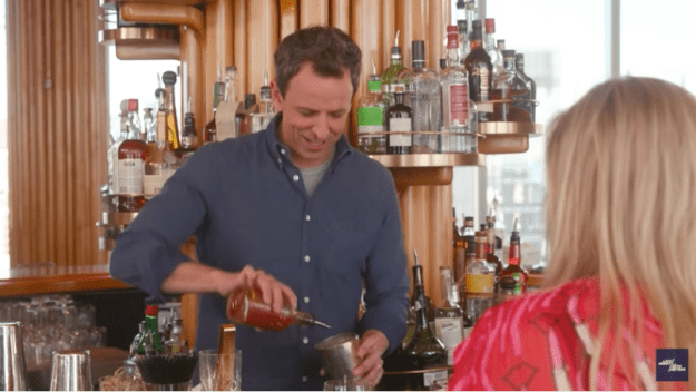 """Seth played bartender, creating a cocktail he called the """"Simon Cowell,"""" which consisted of hot sauce, vodka, more hot sauce, bitters, and some MORE hot sauce."""
