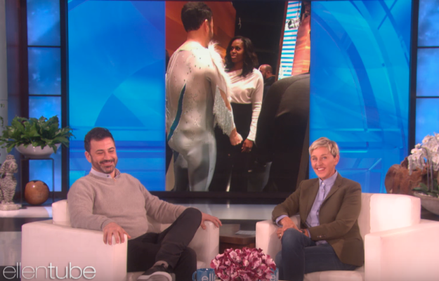 As you can see, Jimmy didn't have time to change out of his ice skating costume that he'd just surprised Ellen in, so had to meet Michelle Obama while still dressed in it.