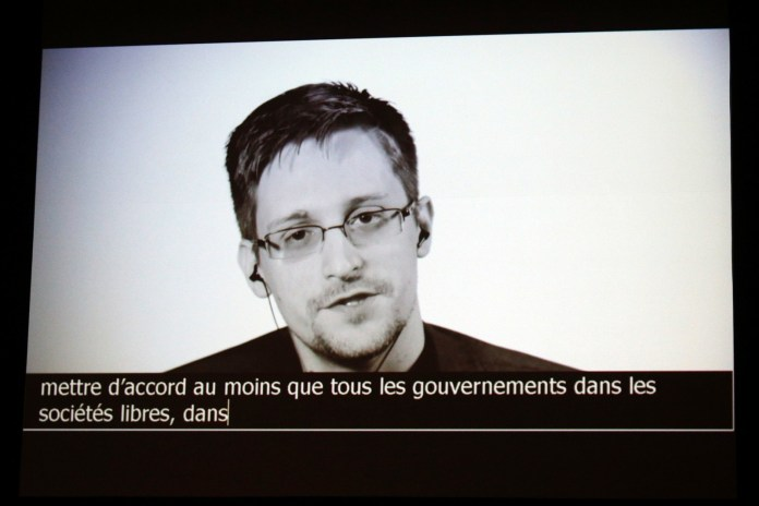 Edward Snowden delivers a speech by video conference in July.
