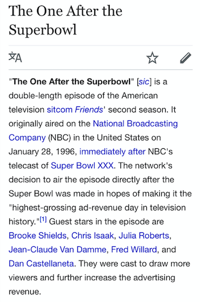 And that, friends, is the true story of how I came to realize that two-part episode of Friends aired immediately after the Super Bowl back in 1996.