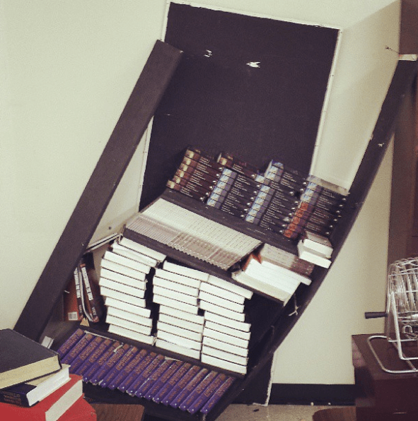 And this teacher over-packed a bookshelf: