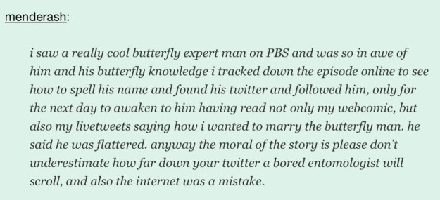 "The person who shared too much about the ""butterfly man"" on social media:"