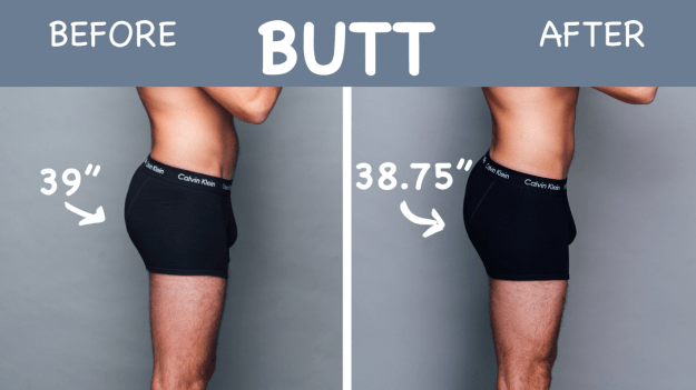 """Spencer noticed his butt definitely looked more firm in the """"after"""" photo, and his quads got bigger by half an inch, too."""