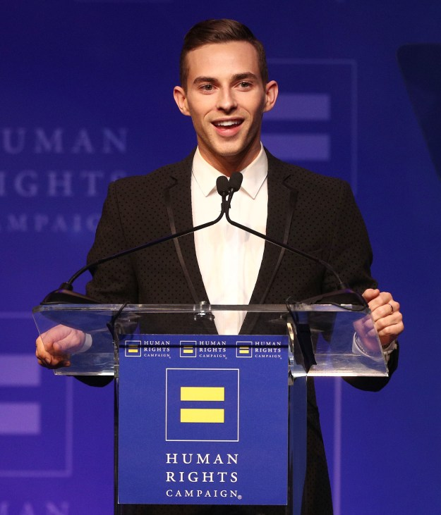 """Thanks, mom,"" Sam captioned the pic, which was taken at the Human Rights Campaign Dinner in Los Angeles on Saturday, where Adam was honored with the Visibility Award."