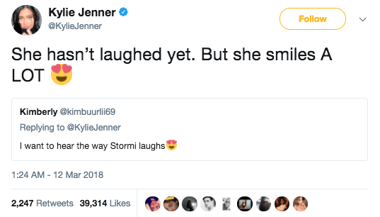 Kylie also shared that Stormi hasn't laughed yet, but smiles a lot: